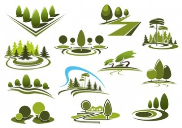 Green park, garden and forest landscape icons