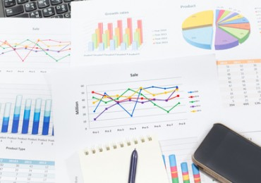 growth rate of Sale analysis report show success result as charts and graphs on document paperwork, corporate financial and business concepts